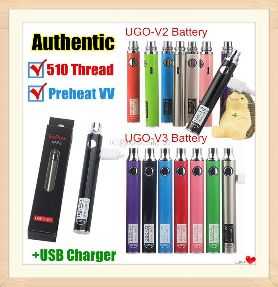 Authentic UGO-V II 2 510 Thread Vape Pen UGO V3 Variable Voltage Preheat EVOD Battery Kits With eGo Charger Micro USB Passthrough ecigs