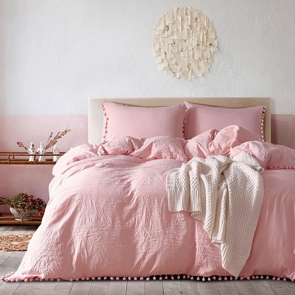 Yimeis Sábanas sólido conjunto conjuntos de colores edredones y ropa de algodón lavado Queen Size Hojas Conjunto BE47025 Y200111