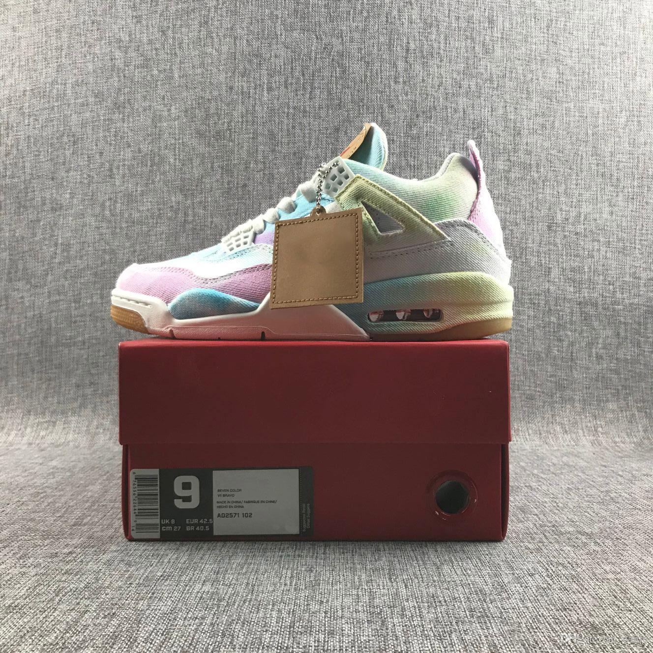 2019 Yeni Geliş Jumpman Levi NRG 4 4s Basketbol Ayakkabı Erkek Çok renkli Gökkuşağı Denim Jeans Spor Spor ayakkabılar kutu Boyutu 40-46 ile