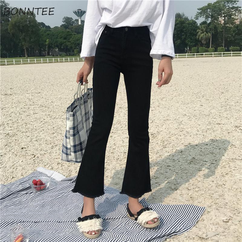 Jeans Femmes Mince Élastique déchiré Rétro Femmes Flare Jean Cheville-longueur Coréenne Style Tout-Allumette Simple à la Mode Zipper quotidien Chic