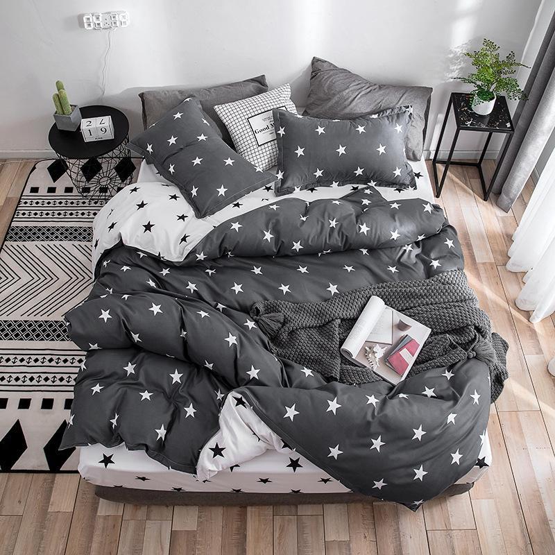 2020 Autumn grey star bedding set Pastoral style duvet cover set flat sheet fish bed linen leopard bed set AB side home textile T200409