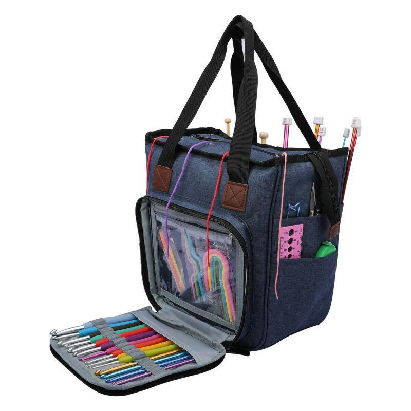 Grande capacité de stockage de fil à tricoter sacs à main sac fourre-tout Laine Crochet Crochet Aiguilles Accessoires Porte Organisateur