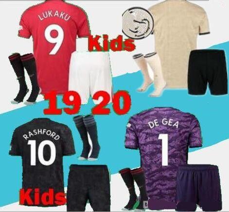 19 20 manchester kids kit soccer jerseys uniform 2019 POGBA LUKAKU RASHFORD kids child MAILLOT DE FOOT UNITED football shirt kits