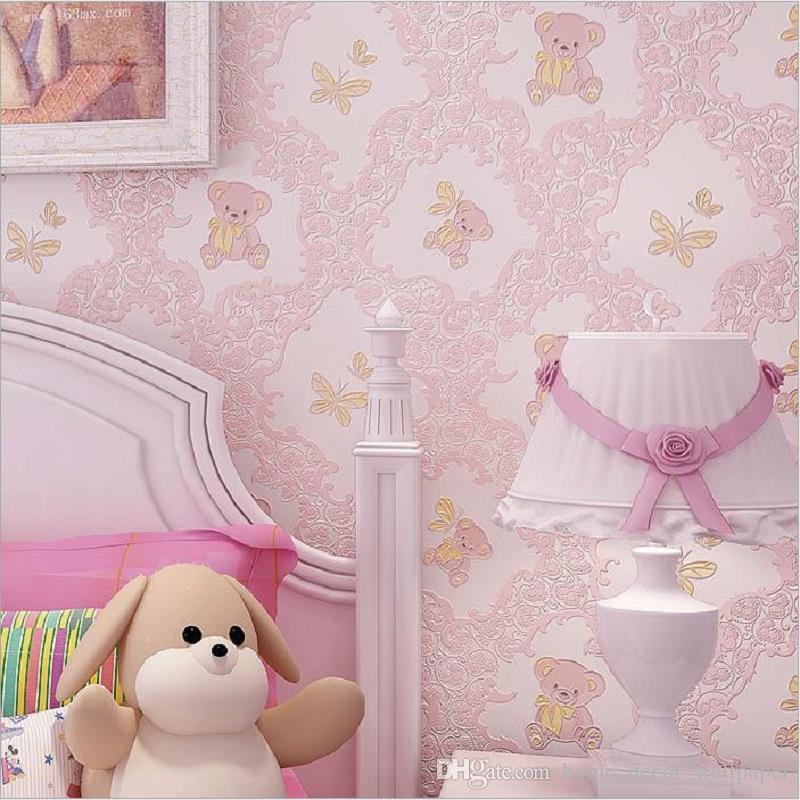Modern non-woven Fabric TV Background Kids Room Living Room Bedroom Pink Blue Bear Cartoon Cute Pattern Boy Girl Wallpaper Roll