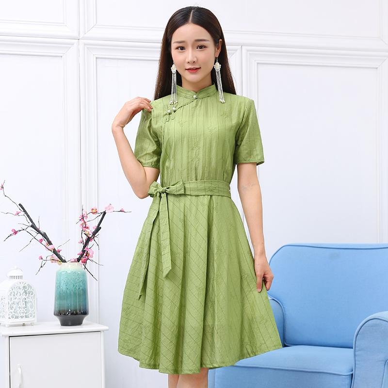 Retro elegant Ethnic clothing embroidered Dresses Summer tang suit gown Casual stand collar short Sleeve women Party Dress