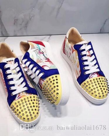 2019 дизайнерская обувь шипованные Шипы квартиры обувь красные днища обувь Мужская женская партия любителей натуральная кожа кроссовки размер 36-46