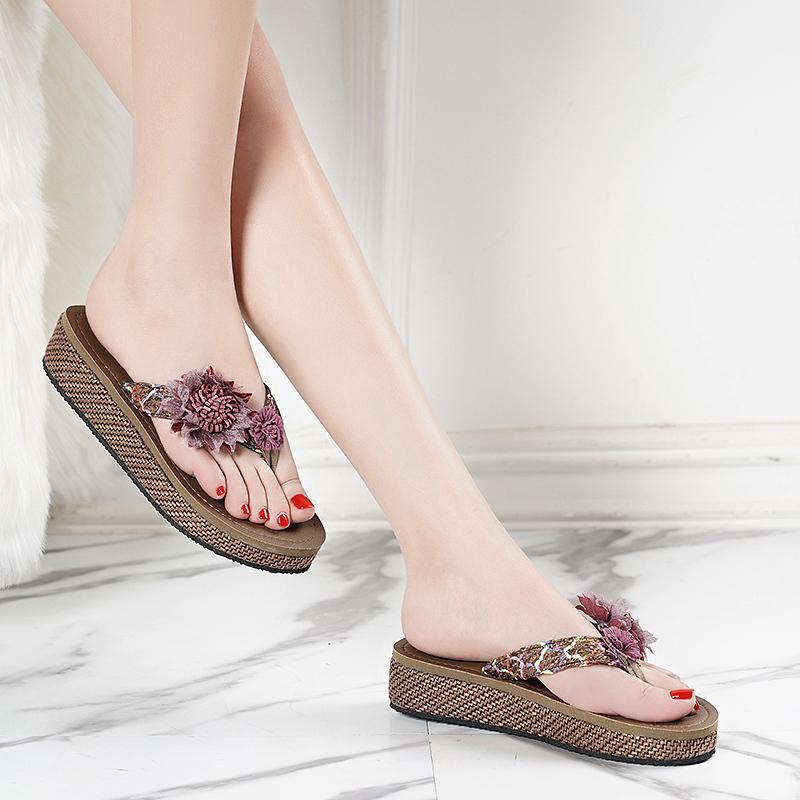 Yaz Kalın Alt Terlik Kama Topuk Boyut Ayakkabı 35-43 Bayanlar Aplike Balıksırtı Terlik Casual Kadınlar Sandalet Aşk Myun