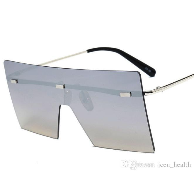 여성 남성 야외 고글 안경 품질에 대한 패션 럭셔리 Desinger 광장 사각형 선글라스 스탬프 UV400 무테 특대 색안경