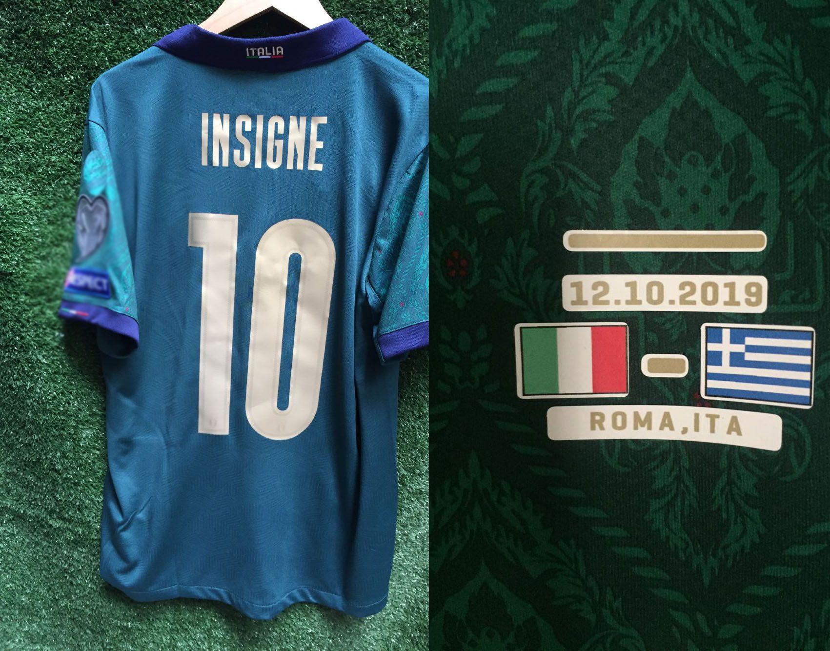 2020 Away 3rd Jogador desgastado Edição Itália Verratti Jersey Insigne Imóvel Jorginho Bonucci com vs Grécia