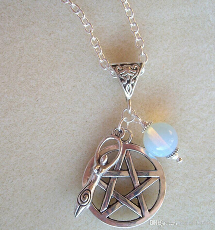 Hot Fashion Vintage Silver Pentagram Earth Goddess Moonstone Charms Pendants Necklace Pagan Witch Spiritual protection DIY Jewelry - 40