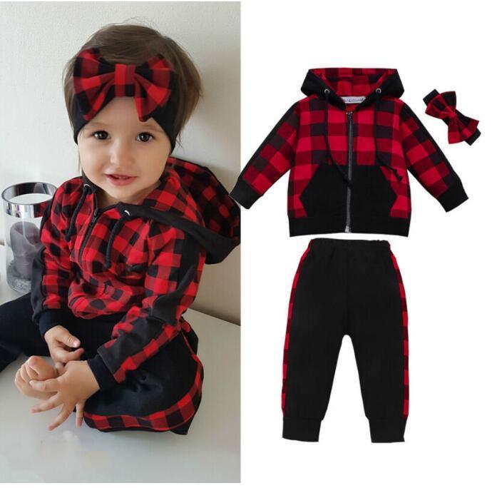 0-3Y Xmas Toddler Baby Girl Winter Clothes Sets Plaid Zipper Coat Top+Long Pants Headband Outfit 3PCS