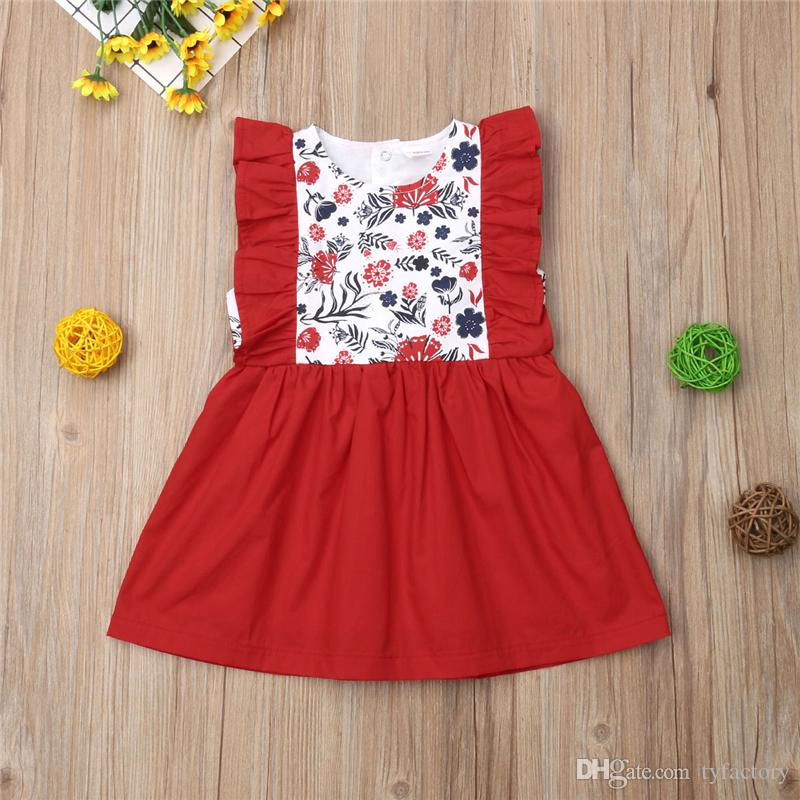 Toddler Baby Girl Kids Bowknot Floral Sleeveless Casual Princess Dresse Clothing