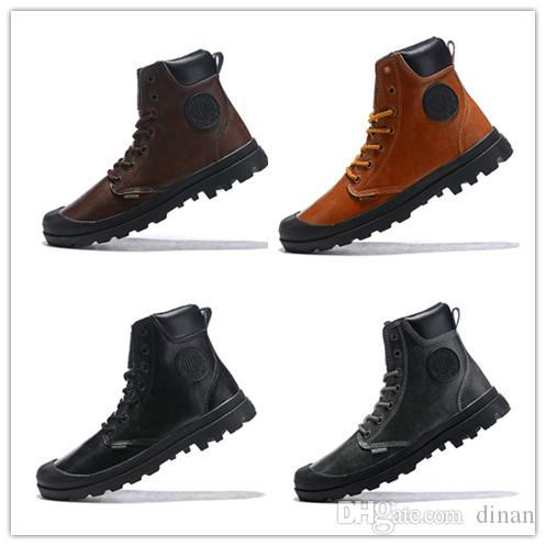 Neue 40-44 Palladium warme Männer High-Top Army Military Stiefeletten Herren Top Leder Turnschuhe Casual Anti-Slip billige Mode Schuhe Luxus Stiefel