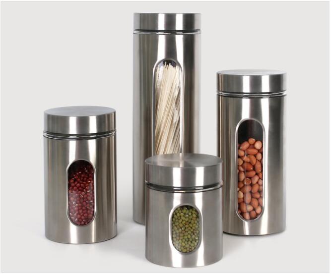 Кухня резервуары для хранения нержавеющей стали видимое стекло герметичные банки чай еда бутылки для хранения контейнеры для хранения XZS 002