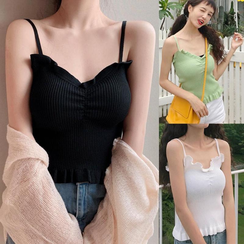 Venda Hot Summer Vest acolchoada Ladies Camisole Mulheres Sólidos doce à moda sexy Strap Casual Manga camisola de alças # y3