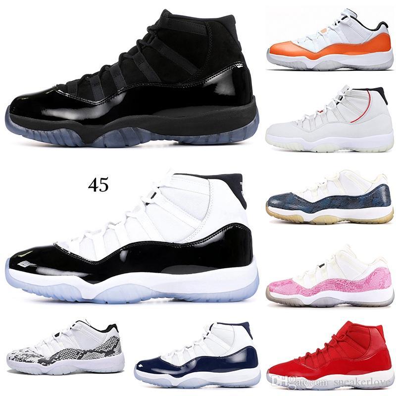 2019 Basketbol ayakkabıları 11 11'leri Şapkanız Space Jam Atletik spor ayakkabılarını 7-12 mens 96 Concord Win Beğen 82 Bred yılan derisi