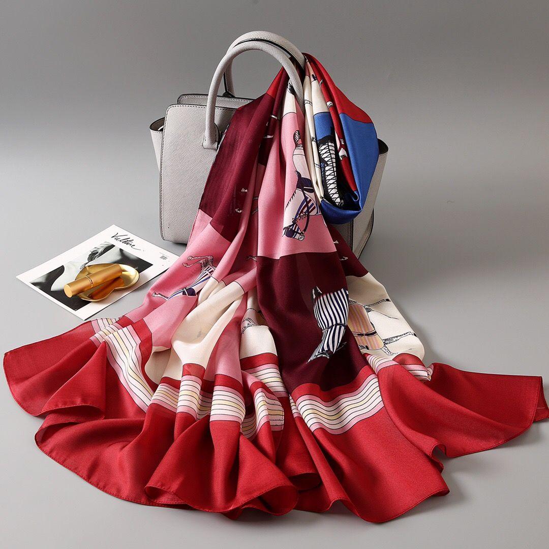 Summer Long Silk Scarf Women Shawls Oversized Horse Print Scarves 180 90