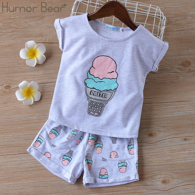 Humor oso Grils de la ropa de la manera fija Corea del helado camiseta impresa + Trajes Pantalones cortos 2pcs sistemas bebé Ropa Niños