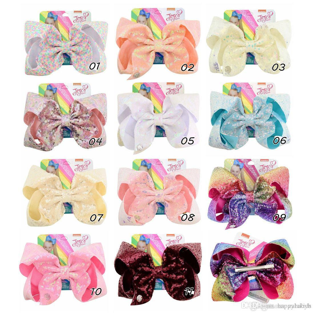 8 Inch JOJO SIWA Large Hair Bow Flip Sequin Gradient Hairpin Bows for Girl Kids