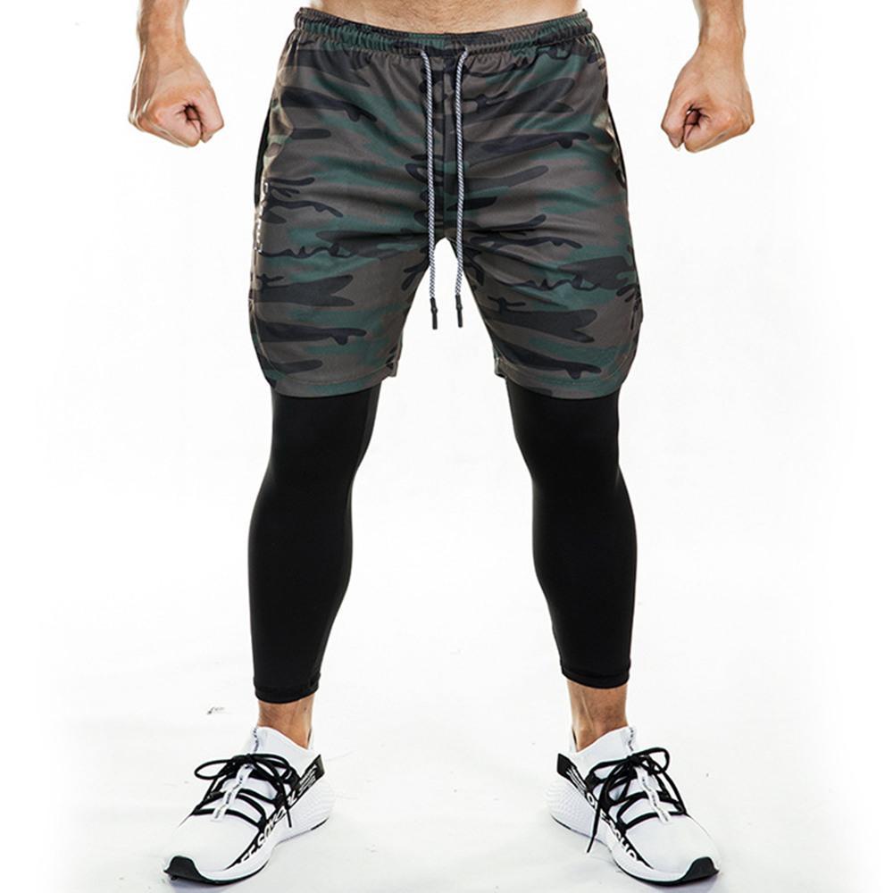 Laufen Jogginghose Herren Shorts und Leggings 2 in 1 Sportbekleidung Gym Fitness Sport Hosen Legging Crossfit Jogger Workout Bekleidung