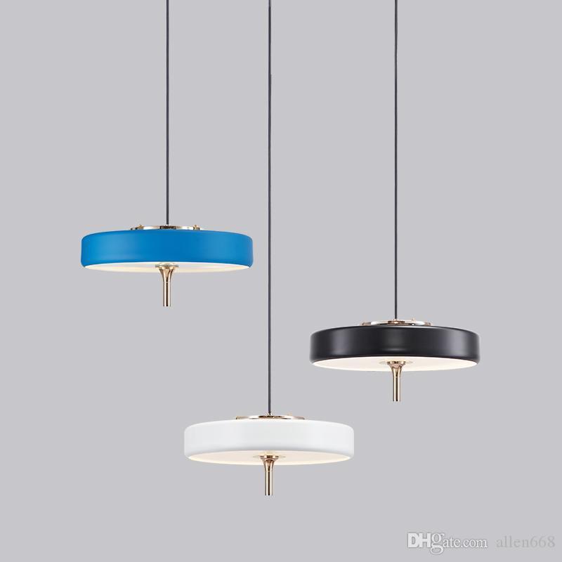 Nordic rotondo del cerchio Bert Frank Revolve luce del pendente Per Soggiorno Camera da letto LED metallo bianco / nero lampada a sospensione Lampade Illuminazione