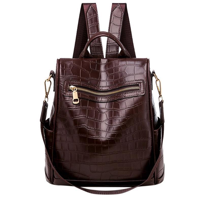 Pelle Donna Zaino di alta qualità femminile Vintage coccodrillo Zaino Anti Theft spalla sacchetto di scuola Bagpack per le ragazze adolescenti