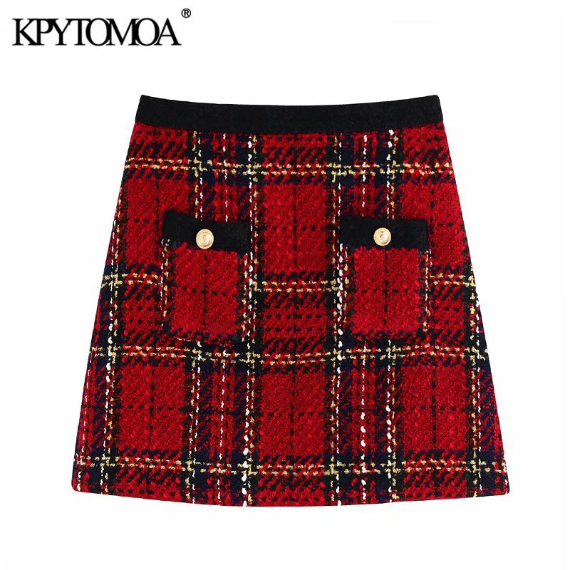 Vintage Stylish Pockets Plaid Tweed Mini Skirt Women 2020 Fashion A Line Back Zipper Female Skirts Casual Faldas Mujer CJ200326