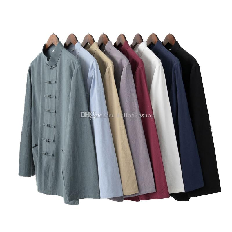 Traditional Cotton and Linen Long Sleeves Tang Suit Kung Fu Shirts Martial Arts Tops Casual Cardigan for Men Women Elderly