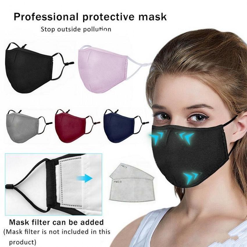 US Stock DHL Cotton Fabric Washable 재사용 가능한 입 얼굴 마스크 안티 PM2.5 방진 활성탄 필터 마스크 방풍 얼굴 마스크 FY9049