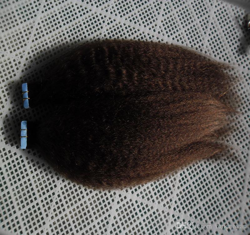 Italiano / grossa yaki fita de cabelo 100% Extensões de cabelo humano 40pcs Tape reta Kinky em extensões de cabelo humano