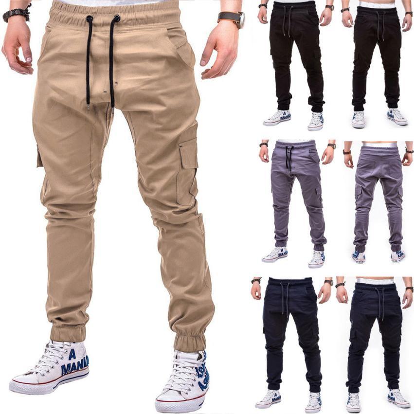 lo último 38274 2715e Compre Pantalones Para Hombres 2019 Moda Para Hombres Color Puro Vendaje  Pantalones Sueltos Ocasionales Pantalones Con Cordón A $24.35 Del ...