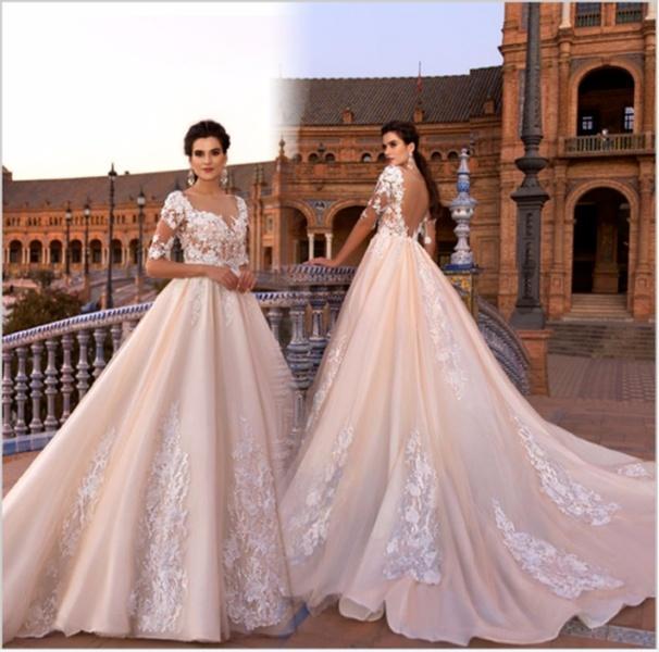 Champagne Tulle di Applique sposa abito da sposa Nuovo Bianco Avorio mezza manica con scollo a V posteriore pizzo abito da sposa sexy