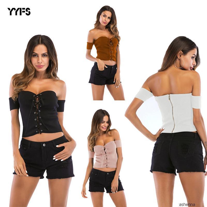 Tasarımcı kazak 20t-shirt sarılmış göğüs çapraz kayış askısız Backless ince sweater9D9H K61I womens