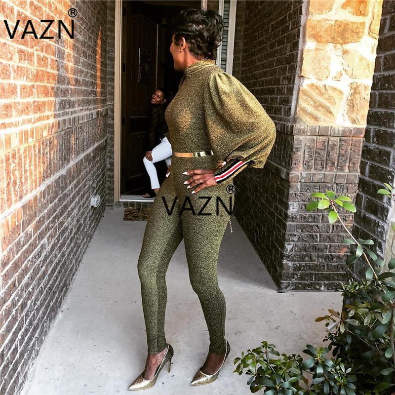 Vazn Sonbahar Yaş Moda Yüksek Kalite Kadınlar Tulumlar Katı Yüksek Yaka Tam Boy Slim Romper Bn9120 Y19060501 Of 2018 Yeni Azaltma
