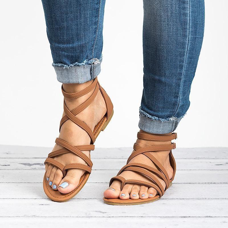 Hot Sale-Women Gladiator Flat Sandals Summer Cover Heel Rome Sandals Female Solid Zipper Women 2019