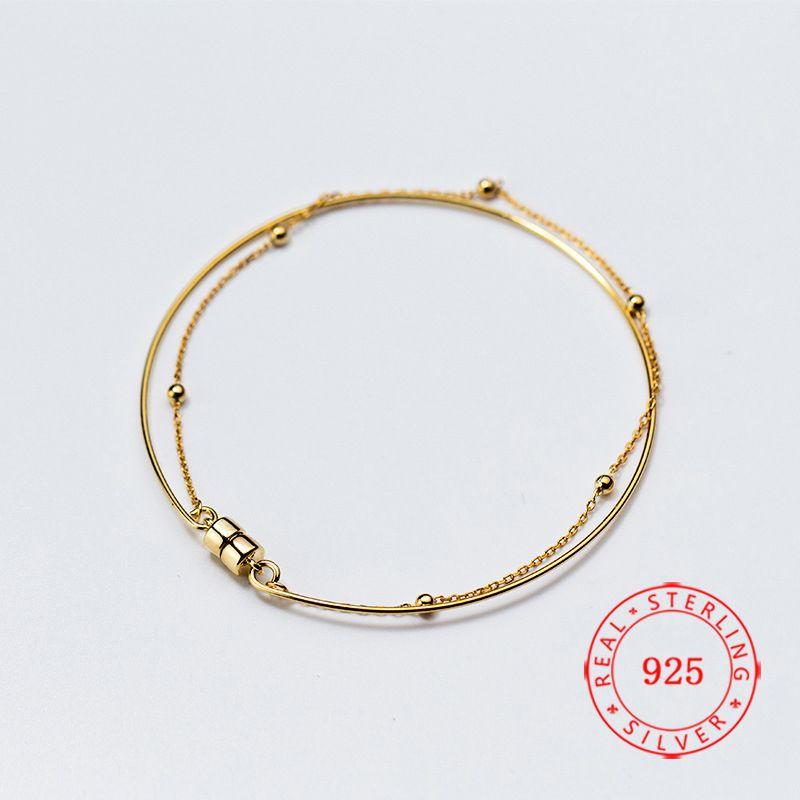 Китай Иу высокого качества стерлингового серебра 925 двухслойный цепи Феррит пряжки браслеты для женщин Fine Jewelry подарок на день рождения браслет