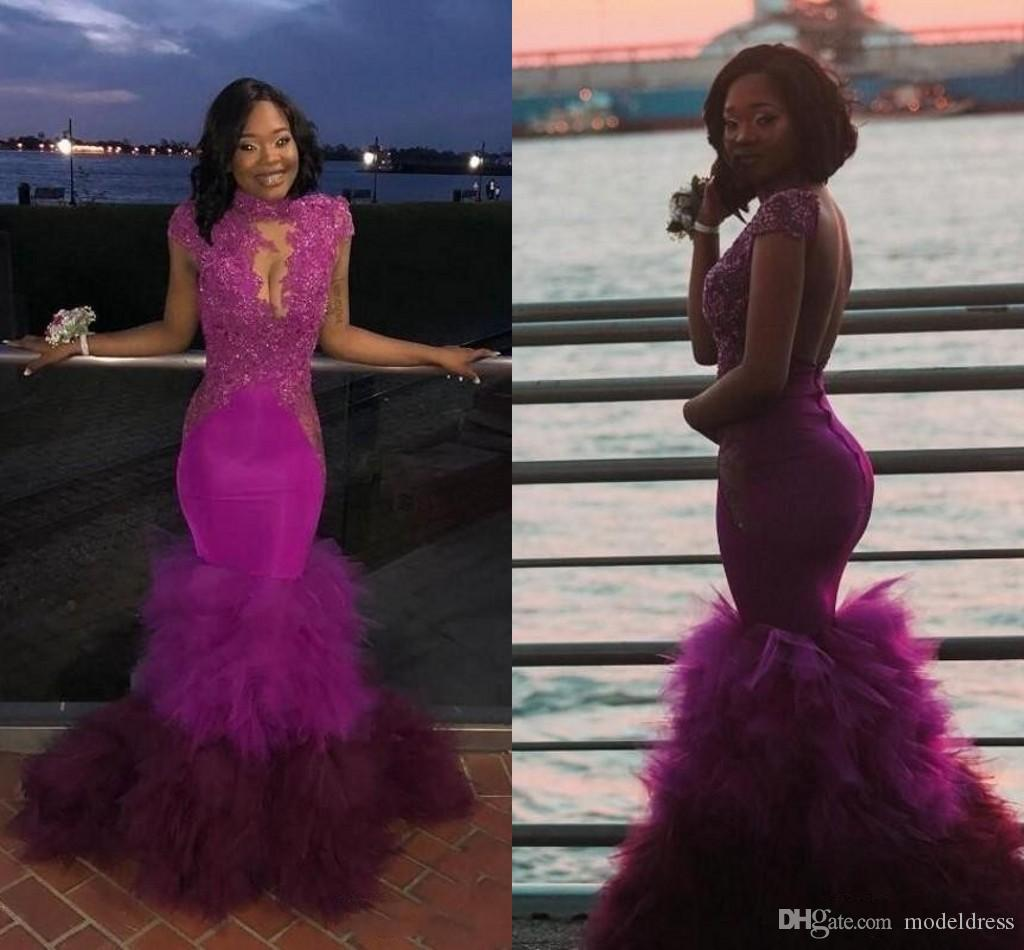 Fuchsia Mermaid Prom Dresses 2019 High Neck See Through Cascading Ruffles Appliques Beads Sweep Train Long Formal Evening Party Gowns Africa
