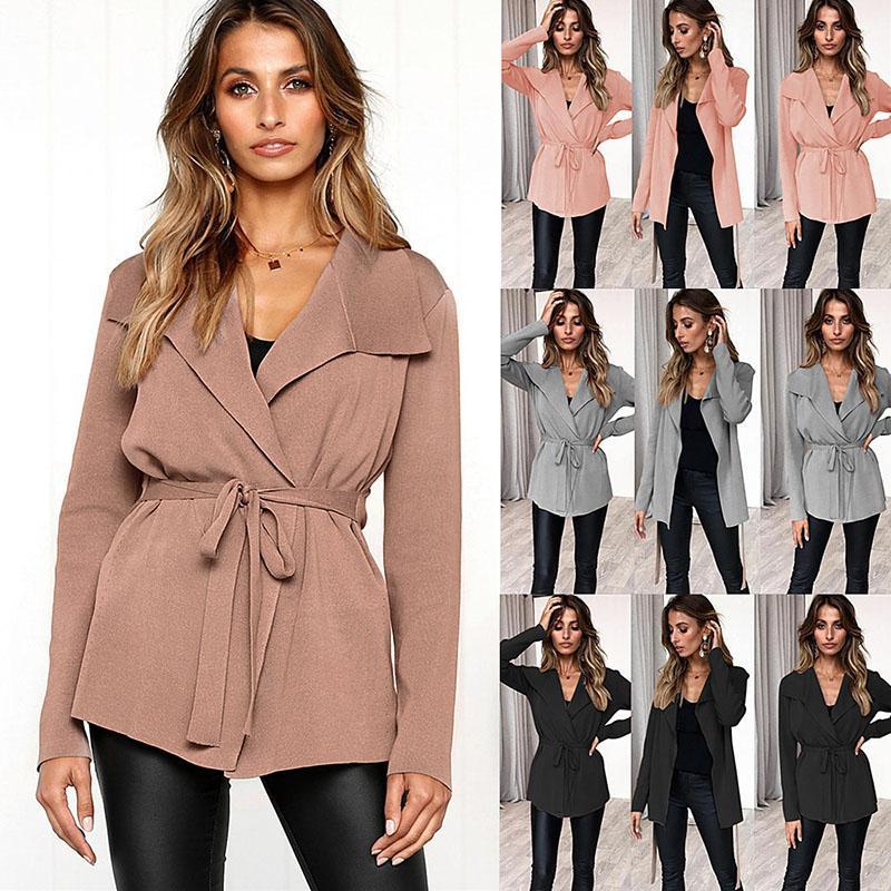 Adatti a donne moda inverno casuale accogliente tutto-fiammifero di colore solido autunno-inverno maglione cardigan Tie-up Cappotto allentato Outwear