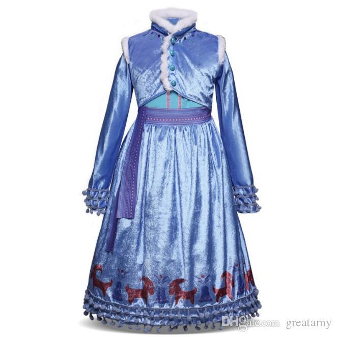 Nova chegada do bebê Girls Dress Crianças Inverno rainha da neve Princesa Vestidos Crianças Festa Halloween Costume natal Cosplay Roupa