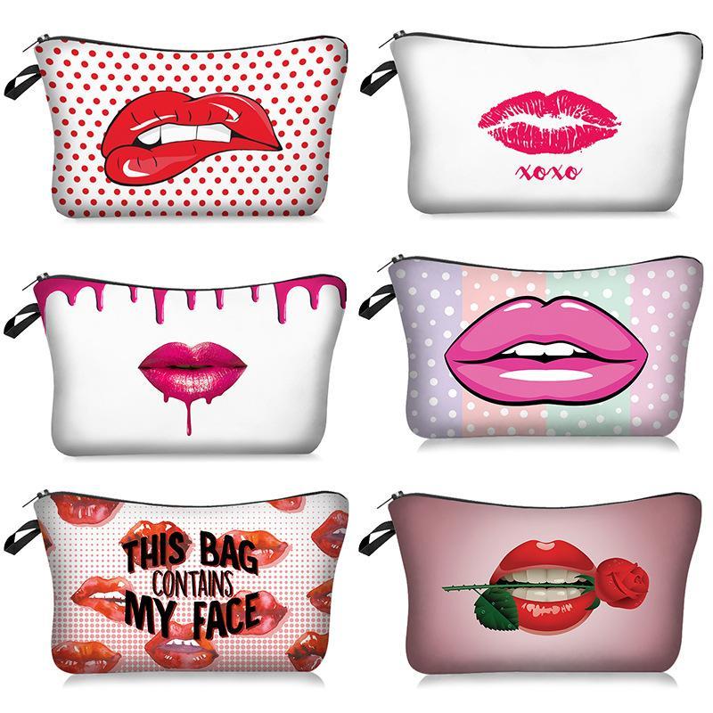 Red Lip 3D-Drucken-Verfassungs-Beutel mit Multicolor-Muster Nette Kosmetik Pouchs für Reisen Damen-Beutel Frauen-Kosmetik-Beutel
