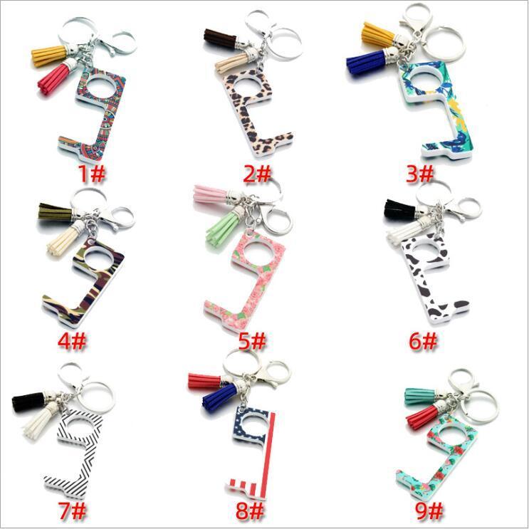 Противоэпидемических отпирания двери кисточкой Подвеска Key Chains Лифт Кнопка Бесконтактный Инструмент Бесконтактный безопасности Дверные ручки латунный ключ ручка B7504
