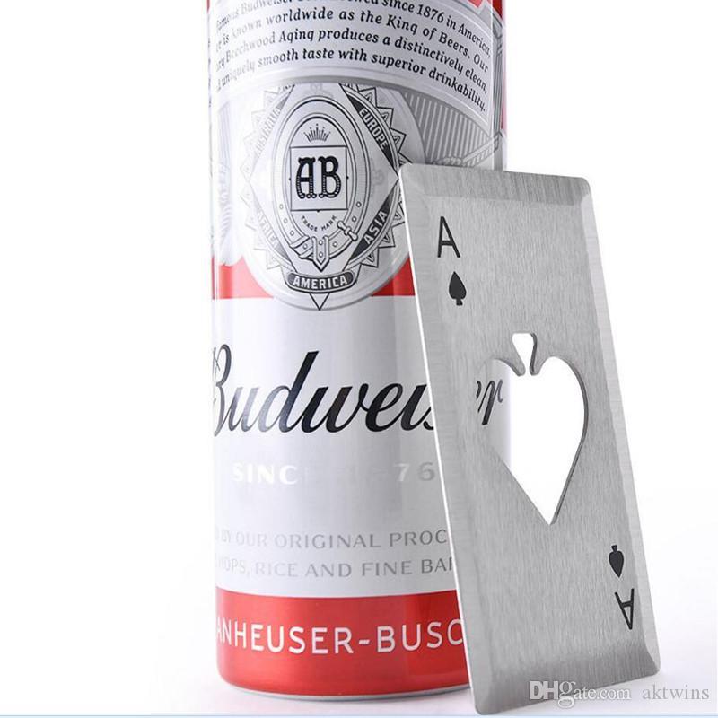 오프너 카드 스테인레스 스틸 포커 재생 카드 스페이드 오프너 콜라 소다 맥주 오프너 주방 액세서리 WY306Q 병