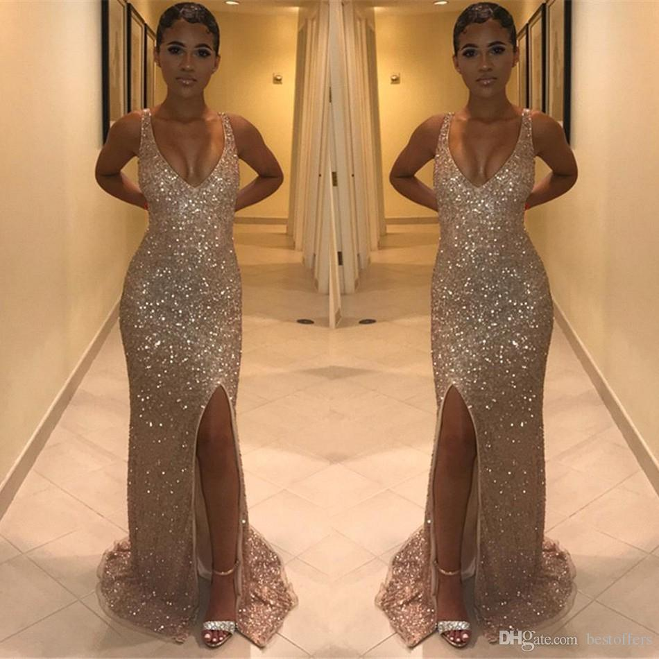 2019 Glitz Sequined Long Prom Dresses Front Split Mermaid Evening Reflective Gown Floor Length Scoop Party Dresses BC1027