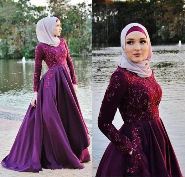 Charming Arabic Muslim Long Sleeves A Line Evening Dresses with Pockets Lace Applique Sequins Formal Dress Evening Party Gowns Dress