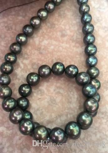 AAA9-10mm rotonda Tahitian nero perla verde collana 18inch 14k