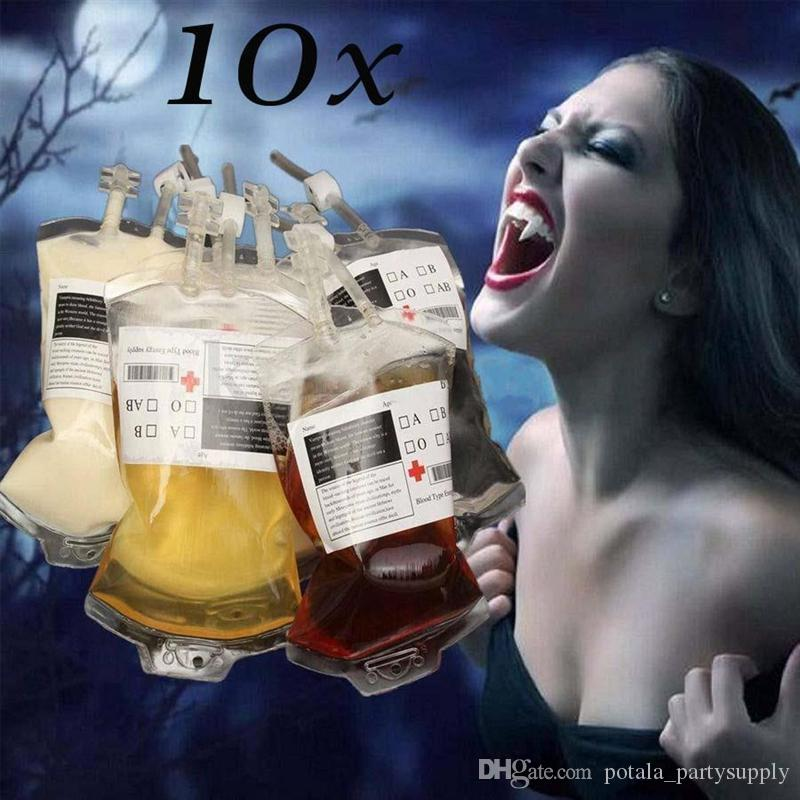 350ml Blood Juice Energy Drink Bag Halloween Event Party Supplies Pouch Props Vampires Reusable Package Bag Cool Blood Energy Bag Beverage