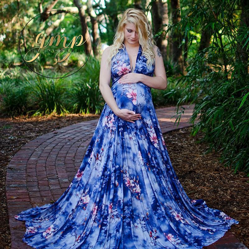 Güzel Mavi Çiçek Annelik Fotoğrafçılık Dikmeler Parti Elbise V yaka Hamilelik Giyim Maxi Elbise Maternidade Fotografia Elbise