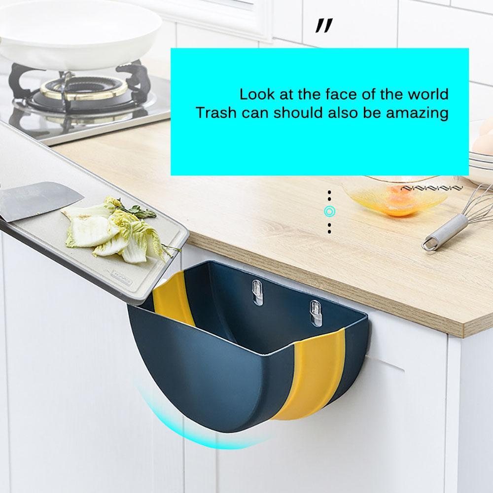Pieghevole Pattumiera Kitchen Cabinet Door Hanging Cestino Trash Can con montaggio a parete Cestino per bagno privato servizi igienici di stoccaggio di rifiuti