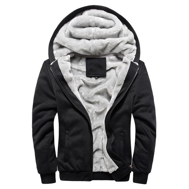 Thick Inverno Quente Brasão de Mens sportwear Treino europeu Masculino Hoodies Homens Bomber casaco de lã Zipper
