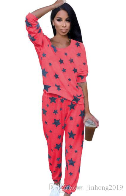 European and American T-shirt + pants women's star set two-piece suit home service night shop ladies clothes (can print logo) QIMANFUSHI